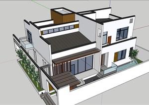 中式详细的居住别墅素材建筑SU(草图大师)模型