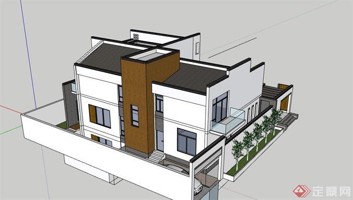 中式详细的居住别墅素材建筑su模型