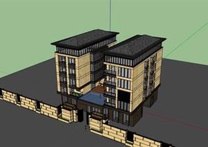 完整现代双拼居住别墅素材建筑SU(草图大师)模型