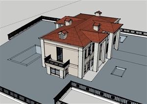 欧式居住别墅素材建筑SU(草图大师)模型
