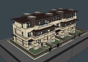 欧式小区居住别墅素材建筑SU(草图大师)模型