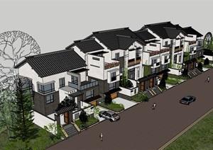 中式居住别墅素材建筑SU(草图大师)模型