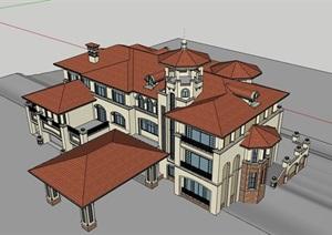 多层度假居住别墅素材建筑SU(草图大师)模型