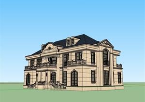 经典欧式居住别墅素材建筑SU(草图大师)模型