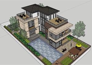 现代多层居住别墅素材建筑SU(草图大师)模型