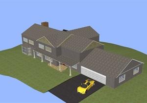 欧式多层居住别墅素材建筑SU(草图大师)模型
