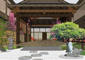 日式庭院景观 枯山水 景观小品 禅意茶室 日式建筑 日式风情SU(草图大师)模型