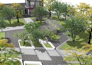 现代公园景观 庭院景观 景观小品 景观树 新中式餐厅SU(草图大师)模型