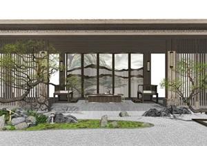 新中式景观小品 庭院景观 枯山水 松树 跌水景观 亭子SU(草图大师)模型