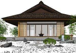 新中式日式景观小品 庭院景观 茶室 枯山水 SU(草图大师)模型