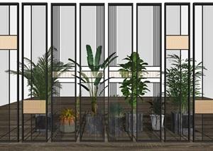 新中式玻璃隔断屏风 盆栽 植物SU(草图大师)模型1