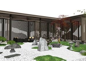 新中式庭院景观 景观小品 禅意庭院 石头 枯枝 凉亭 廊架SU(草图大师)模型