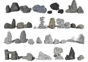 新中式石头 假山石头 太湖石 景观石SU(草图大师)模型