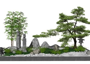 新中式庭院景观小品 庭院景观 树 石头 枯山水SU(草图大师)模型
