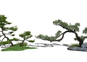 新中式庭院景观 景观树 景观小品 石头SU(草图大师)模型