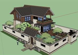 私人中式含庭院别墅居住设计SU(草图大师)模型