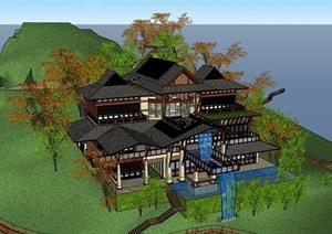 中式风格详细的山地别墅居住设计SU(草图大师)模型