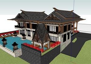 东南亚风格别墅居住设计SU(草图大师)模型