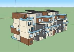 现代小区别墅居住设计SU(草图大师)模型