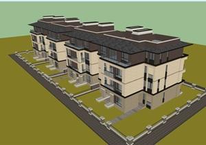 精致的完整别墅居住设计SU(草图大师)模型