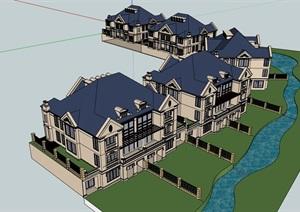 经典的欧式别墅居住设计SU(草图大师)模型