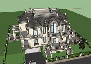 整体的欧式别墅居住设计SU(草图大师)模型