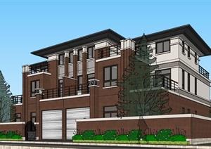 双拼欧式完整的别墅居住设计SU(草图大师)模型