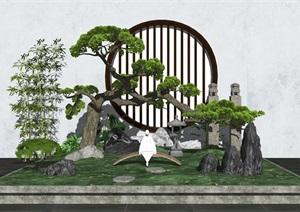新中式庭院景观 景观小品 景观树 石头 植物SU(草图大师)模型
