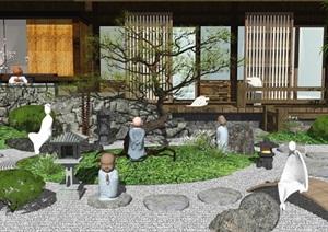 新中式枯枝 景观小品 景观树 石头 植物 建筑 佛像SU(草图大师)模型