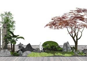 新中式庭院景观 景观小品 植物 石头 树 日式灯SU(草图大师)模型