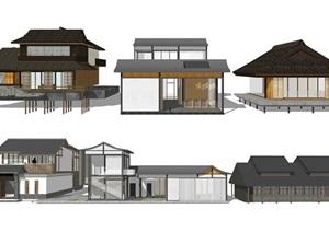 新中式建筑 民宿 景观小品 SU(草图大师)模型