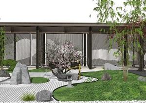 新中式庭院景观 景观小品 禅意庭院 石头 枯枝 凉亭 廊架SU(草图大师)模型1