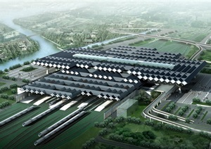 中式风格苏州火车站全模