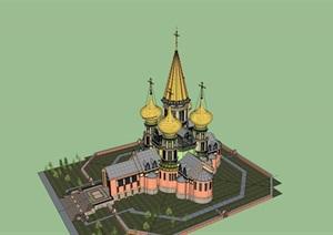 某市俄式教堂建筑模型方案