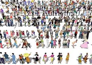 现代2D人物组合SU(草图大师)模型
