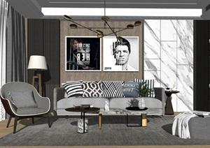 现代沙发茶几组合背景墙茶几摆件休闲椅SU(草图大师)模型
