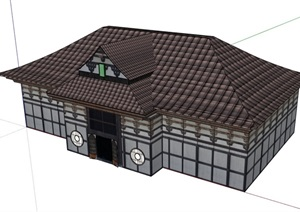 日式风格餐厅餐饮建筑SU(草图大师)模型
