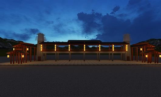 布依小镇户外灯笼设计