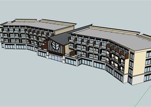 日式风格酒店经典的建筑SU(草图大师)模型