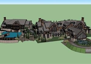 精致的独特完整的酒店建筑SU(草图大师)模型