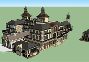独特精致的完整的酒店SU(草图大师)模型