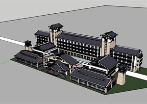 中式独特的完整的酒店SU(草图大师)模型