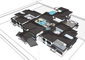 中式多层完整的酒店建筑SU(草图大师)模型