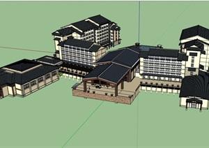 中式独特的完整的酒店建筑SU(草图大师)模型