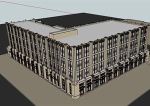 现代风格商务完整的酒店SU(草图大师)模型