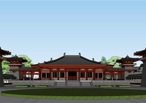 某市汉唐风庙宇建筑方案模型