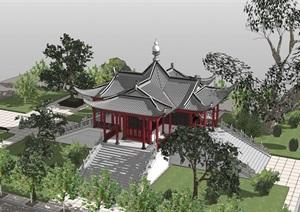 某市中式风格舍利殿建筑模型