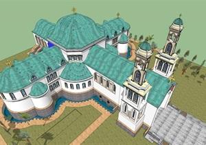 某市欧式风格教堂 Byzantine Church with (1)