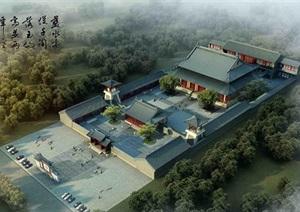 某市传统寺庙院落古建模型