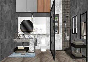 现代卫生间洗手台镜子花洒马桶SU(草图大师)模型1
